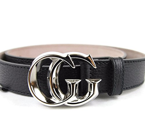 gucci mens black leather silver gg buckle belt 362734