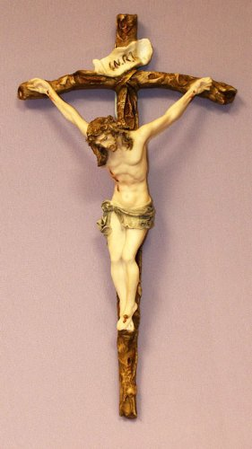 Crucifix in hand-painted alabaster corpus and cross, 11.5 inches. Made in Italy. by GSV001