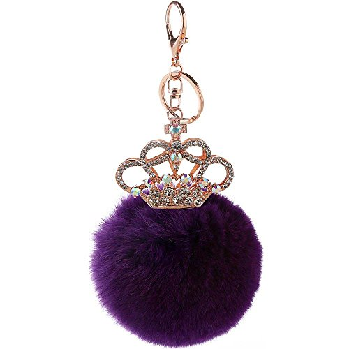 CHOP MALL Plush Pompom Ball Princess Crown Crystal Pendant Charm Keychain Accessory for Women Girls Handbag Purse Car Key Chain Cell Phone Keyring_Dark Purple
