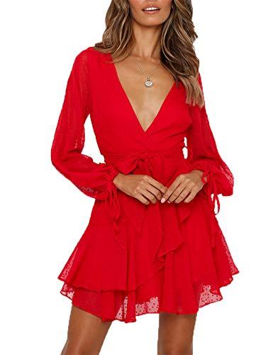 Saslax Women's Summer Loose Long Sleeve Wrap Deep V Neck Ruffle Hem Swing Mini Short Party Dress - Red X-Small ()