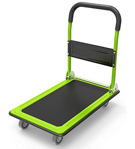 Platform Trucks Rolling Flatbed Cart Functional Moving Foldable for Easy Storage 360-degree Swivel Wheels - Load 150kg, 7 Colors (Color : Green, Size : 73x47cm) ()