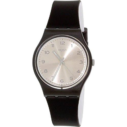Swatch Friend Too Silver Dial Black Plastic Silicone Quartz Men's Watch GB287