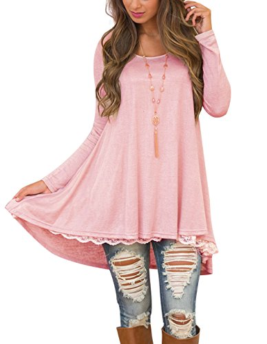 Women's Long Tunic Shirts for Leggings Lace Tunic Dresses with Sleeve (Small, Pink)