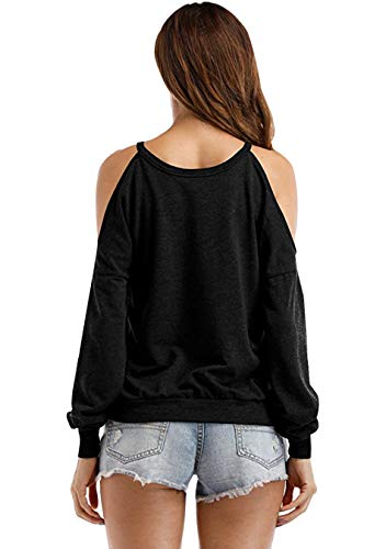 col Chemise col paule EFOFEI Rond Femme Haut Froide Chemisier Solide dcontract Noir AWO8nq