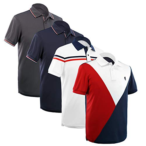 Albert Morris Mens Fashionable Short Sleeve Polo Shirts 4 Pack Trendy Pack (Medium)