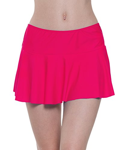 Swim Skirt Women High Waist Beach Cover-up Skirted Swimsuit Bikini Bottom Tankini Skort Magenta (Skirt Attached Panties)