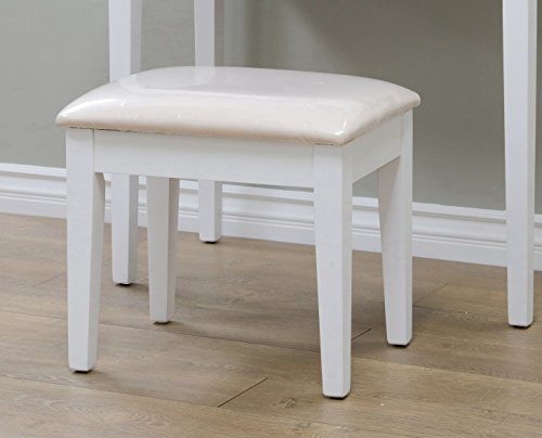Frenchi Home Furnishing 2 Piece Home Furnishing  Set  Vanity with Beige Stool, White