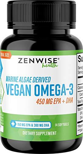 Vegan Omega 3 Supplement - Marine Algal Source of EPA & DHA Fatty Acids - for Joint Support & Immune System - Heart & Skin + Brain Health Booster - Fish Oil Free Formula for Men & Women - 14 Softgels