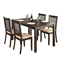 CorLiving DRG-795-Z Atwood 5-Piece Dining Set, with Beige Microfiber Seats