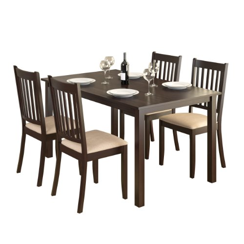 CorLiving DRG-795-Z Atwood 5-Piece Dining Set with Beige Microfiber Seats