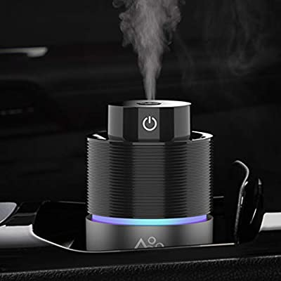 Vyaime USB Car Essential Oil Diffuser Car Humidifier, 7 Colors LED Light 200mL Big Volume Aromatherapy Air Freshener for Home Office Travel Vehicle(Black)