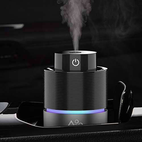 Vyaime USB Car Essential Oil Diffuser Air Freshener,Colorful LED Lights Home Aromatherapy Humidifier,Continuous Intermittent 200mL 7Hours FOR Office Travel Vehicle(Black Grey)