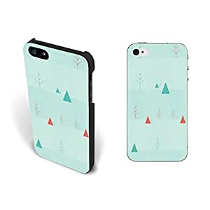 Pastel Cute Drawing Nature Iphone 5 Case Cover Pretty Trees Custom Design Hard Plastic Iphone 5s Case Skin Screen Protector Personalized for Girls