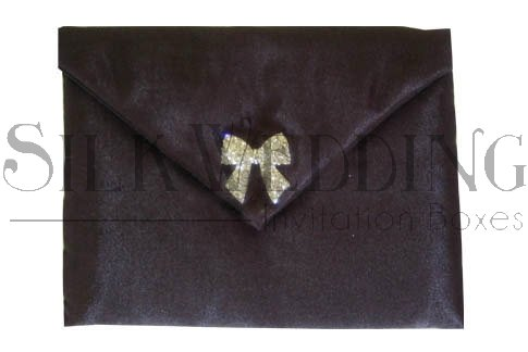 Striking Black Silk Wedding Pouch With Sparkling Crystal Bow