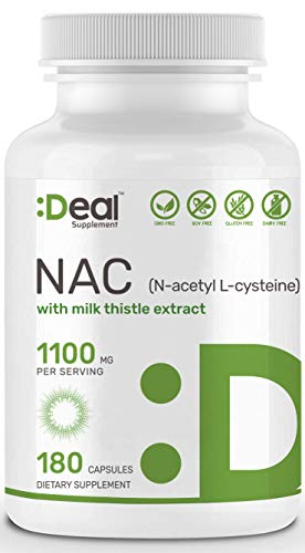 (Deal Supplement N-Acetyl L-Cysteine (NAC) with Milk Thistle Extract, 1100mg per Serving, 180 Capsules, Non-GMO, Made in USA)
