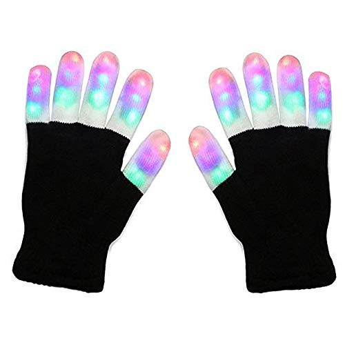 Ausein LED Gloves, Light up Gloves Glow Rave Gloves Fingertip Lights Flashing Colorful Gloves Light-up Toys for Kids Adult Girls Boys Halloween Christmas Xmas Gift Party Club Light Show ()