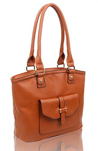LeahWard Frauen weiche leichte Schulter Handtaschen Qualität Faux Leder Handtaschen für Frauen Für die Schule CW14106 (Perle Schultertasche) Braun Fronttasche Umhängetasche