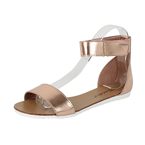 Breckelles Womens Minimalist Ankle Wrap Velcro Comfort Flat Sandal ITLActrryE