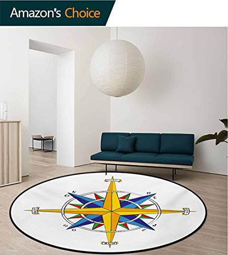 RUGSMAT Compass Computer Chair Floor Mat,Colorful Vivid Design Windrose Marine Life Theme Sailing Journey Directions Printed Round Carpet for Children Bedroom Play Tent,Diameter-51 Inch (Chairs Compass)