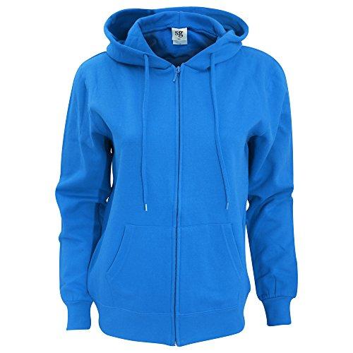 sg - Chaquetilla lisa con capucha y cremallera completa para mujer Azul real