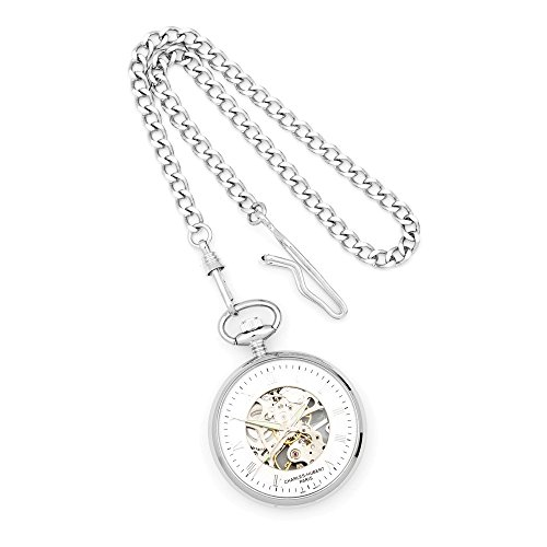 Charles Hubert Chrome-finish Off-White Ceramic Dial Pocket (Off White Dial Pocket Watch)