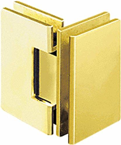 CRL V1E092BR Polished Brass Vienna 092 Series 90 Degree Glass-to-Glass Hinge
