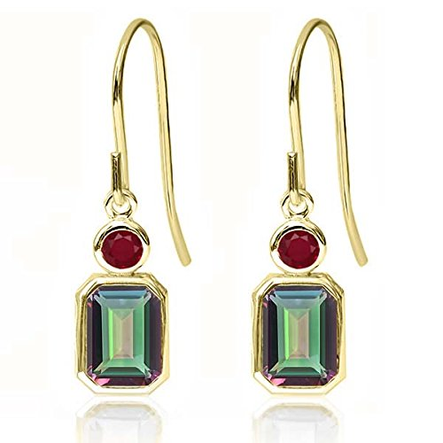 2.28 Ct Octagon Green Mystic Topaz Red Ruby 14K Yellow Gold Earrings