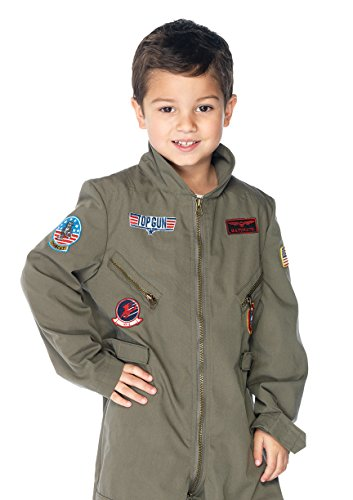 Leg Avenue Little Boy's Top Gun boys flight suit Adult Costume, khaki, MEDIUM