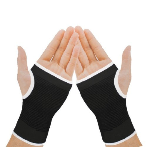 2 x Black Elasticated Hand Palm Wrist Glove Joint Muscle Supports Guard Braces by HISPUK -