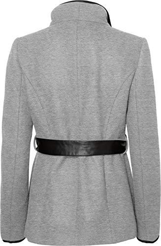 colore taglia ecopelle e in corto cinta con rifiniture Moda Cappotto Vero chiaro grigio s nx0YzwPqz