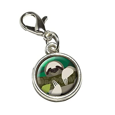 Graphics And More Geometric Sloth Antiqued Bracelet Pendant Zipper Pull Charm With Lobster Clasp - Sloth Key Chains