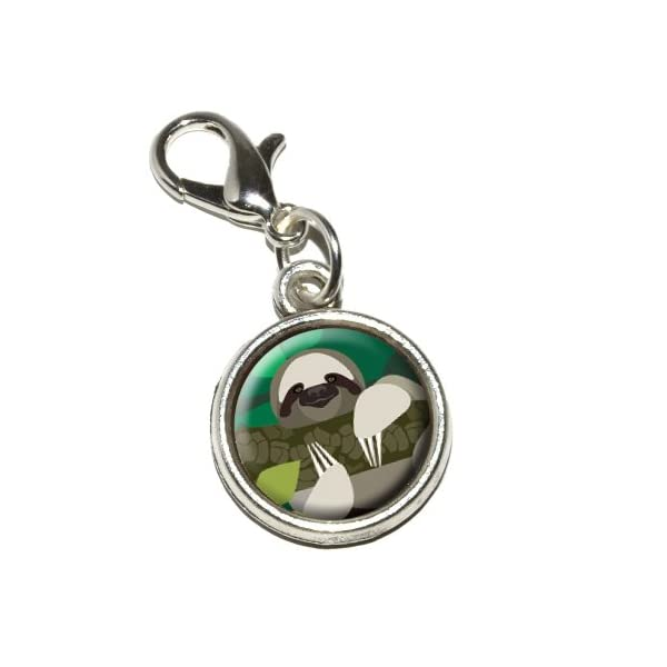 Graphics And More Geometric Sloth Antiqued Bracelet Pendant Zipper Pull Charm With Lobster Clasp -