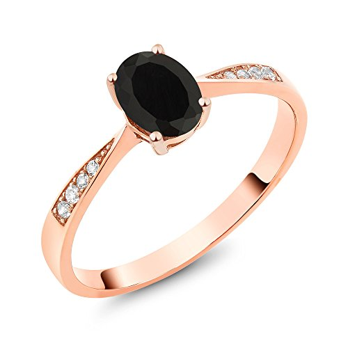 10K Rose Gold Diamond Women's Ring with 0.86 Ct Oval Black Onyx (Ring Size 6) - Onyx Rose Ring