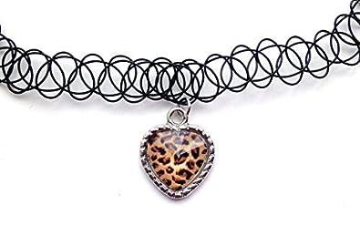 Live It Style It Leopard Print Brown Heart Tattoo Choker Charm