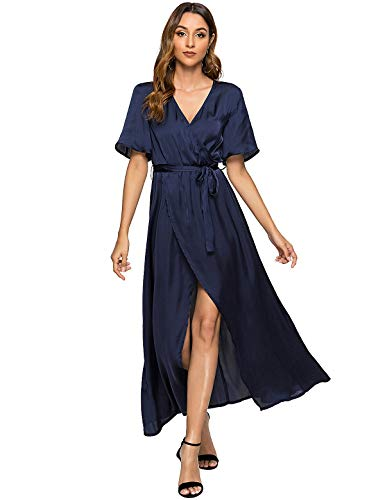 (Escalier Women's Maxi Dress Satin V Neck Split Flowy Party Evening Dresses with Belt Navy Small)