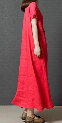 Abito Maglietta Estate Biancheria Lungo Cromoncent Girocollo La Donne Colore Rosso Chic Solido Più Allentata wB16Tq