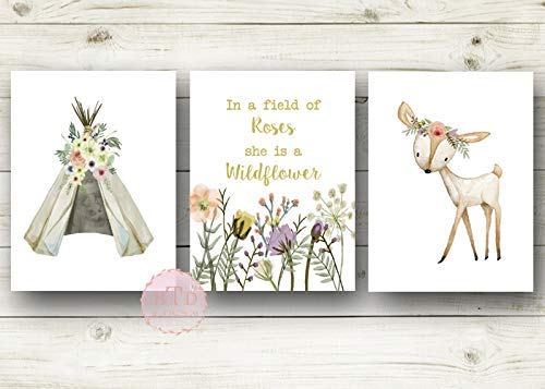 - In A Field Of Roses She Is A Wildflower Nursery Print Wall Art Set of 3 Teepee Floral Baby Girl Room Prints Bohemian Decor Tee Pee Tribal Nursery Woodland Deer