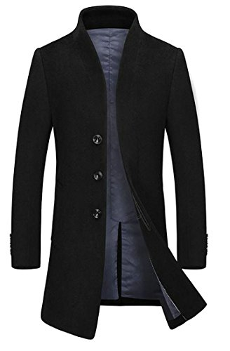 Fulok Mens Slim Woolen Coat Single-Breasted Outwear Peacoat Black XS by Fulok