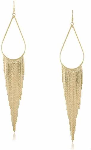 megko Fashion Vintage Teardrop Long Dangle Chain Tassel Earrings for Women
