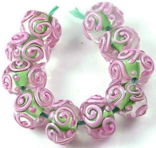LAMPWORK Handmade Glass Pink Green Raised Scroll Rondelle Beads (10), Beading, Jewelry Making, DIY Crafting, Arts & Sewing by Perfect Beads Store