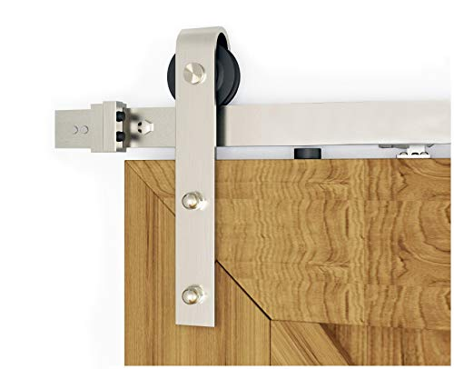 DIYHD 8FT Brushed Nickel Sliding Barn Door Hardware Two-Side Soft Closing Mechanism