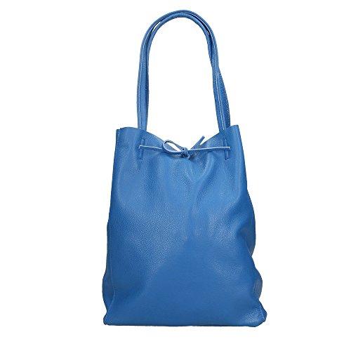 Aren Mujer bolsa de hombro en cuero genuino Made in Italy - 27x33x13 Cm Blues