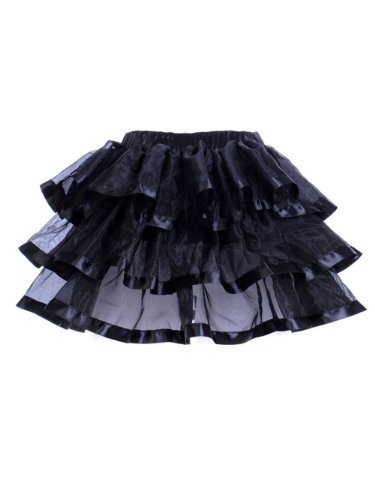 Deargirl Sexy Mini Tutu Ballet Multi-layer Ruffle Frilly Bridal Petticoat Skirt (L/XL, Black)