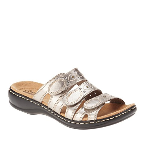 9c3896418888 Clarks Women s Leisa Cacti Q Pewter Leather Sandal 6 D - Wide WBCeqZCoa