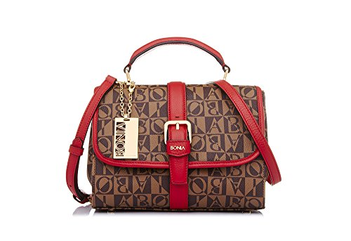 bonia-womans-red-monogram-satchel-m