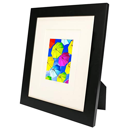 (SpoiledHippo 8x10 Picture Frame Black (1 Pack) - Made of Solid Wood with Glass Cover - for Display of 8 by 10 Inch Photos w/o Mat or 5x7 and 3x5 with Mats - Wall and Tabletop - Hanging or Standing)