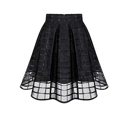 BODOAO Women Organza Skirts High Waist Zipper Ladies Tulle Skirt