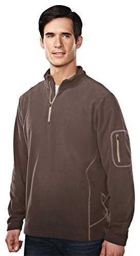 Tri-Mountain 7115 Mens 100% Poly Micro Fleece quarter ziper pullover - British Tan/Sand - 3XL Adult Micro Poly Pullover Jacket