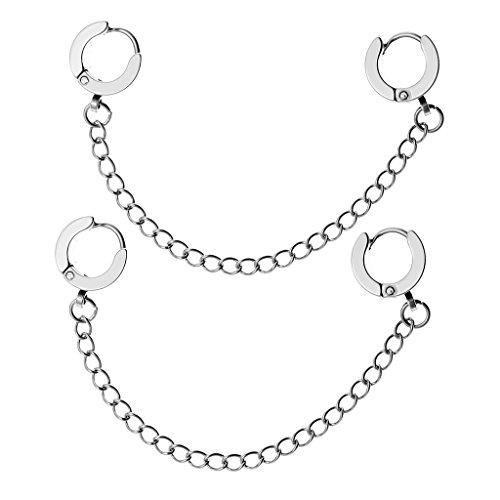 Zysta 2pc Mens Womens Silver Stainless Steel Double Hoop Huggie Slave Chain Tassel Ear Cuff Stud Helix Cartilage (Slave Earring)