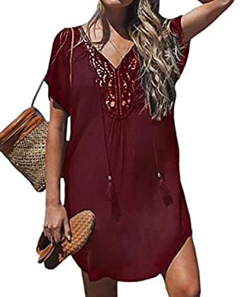 Women Cover Ups Beach Swimwear Bathing Suit Bikini Tunic Dress Wine Red XXXL